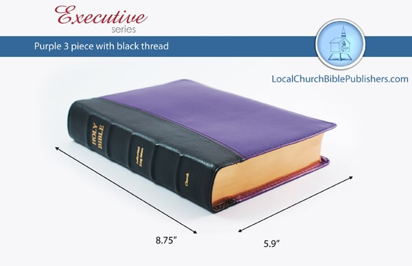 180E3B PU Hand Size Text Black/Purple 3 Piece (Executive)